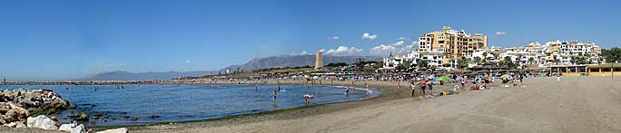 panoramic view of Cabopino Beach, Costa del Sol