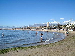 Cabopino beach on the Costa del Sol, marina is to the right of this photo.