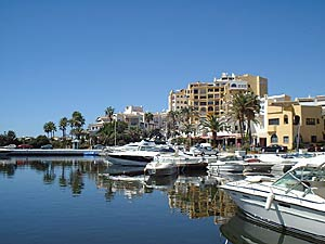 Restaurants and yachts at Cabopino beach and marina